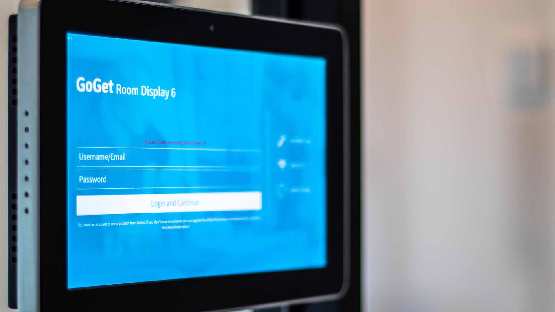 Goget tablet til mødelokale