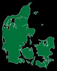 Kort over Danmark i grøn
